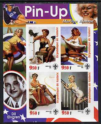 Guinea - Conakry 2003 Pin-up Art of Dil Elvgren featuring Marilyn Monroe imperf sheetlet containing 4 values (each with Scout logo) unmounted mint
