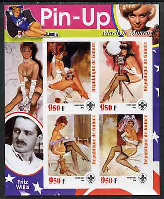 Guinea - Conakry 2003 Pin-up Art of Fritz Willis featuring Marilyn Monroe imperf sheetlet containing 4 values (each with Scout logo) unmounted mint