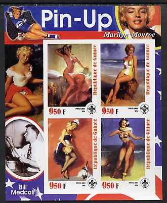 Guinea - Conakry 2003 Pin-up Art of Bill Medcalf featuring Marilyn Monroe imperf sheetlet containing 4 values (each with Scout logo) unmounted mint