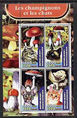 Madagascar 2004 Fungi & Cats perf sheetlet containing set of 4 values unmounted mint