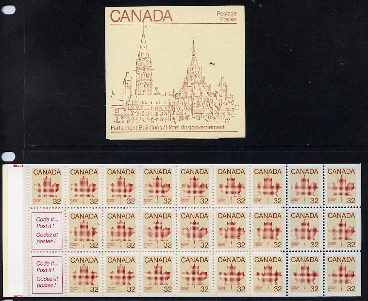 Booklet - Canada 1983 Parliamentary Library $8 booklet complete containing pane SG 1032bb (Library on cover) SG SB92