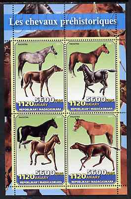 Madagascar 2004 Prehistoric Horses perf sheetlet containing set of 4 values unmounted mint