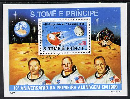 St Thomas & Prince Islands 1980 Moon Landing Anniversary perf m/sheet with 'CTT 15.5.80 St Tome cancel, pre-release publicity proof (m/sheet was issued 13.6.80)