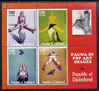 Djubaland Republic 1999 Fauna in Pop Art Images of Mel Ramos perf sheetlet containing 4 values unmounted mint