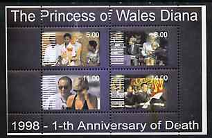Tatarstan Republic 1998 First Deathh Anniversary of Princess Diana perf sheetlet containing set of 4 values unmounted mint, stamps on royalty, stamps on diana