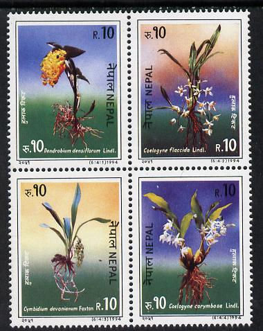 Nepal 1994 Orchids se-tenant strip or block of 4 unmounted mint, SG 579a