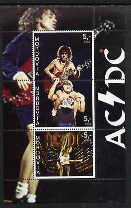 Mordovia Republic 2003 AC/DC perf sheetlet containing 3 values unmounted mint