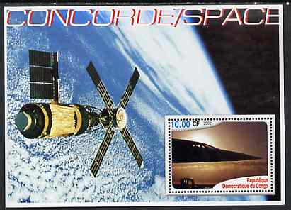Congo 2002 Concorde & Space perf s/sheet unmounted mint