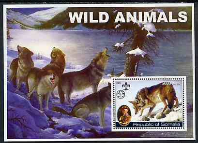 Somalia 2002 Wild Animals #01 (Wolves) perf s/sheet (also showing Baden Powell and Scout & Guide Logos) unmounted mint