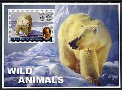 Somalia 2002 Wild Animals #02 (Polar Bears) perf s/sheet (also showing Baden Powell and Scout & Guide Logos) unmounted mint