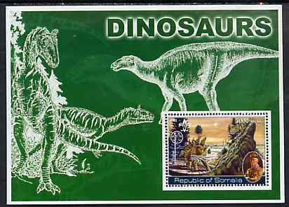 Somalia 2002 Dinosaurs perf s/sheet #1 (also showing Baden Powell and Scout & Guide Logos) unmounted mint