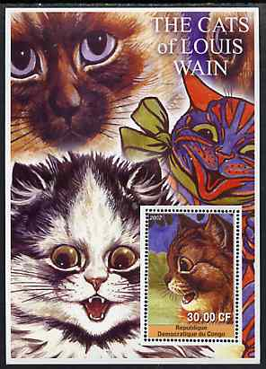 Congo 2002 The Cats of Louis Wain #02 perf s/sheet #01 unmounted mint