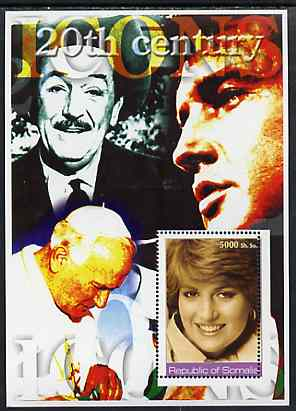 Somalia 2002 20th Century Icons #3 (Princess Diana) perf s/sheet (also shows Elvis, Walt Disney & The Pope in background) unmounted mint