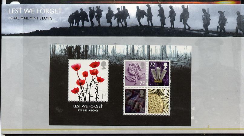 Great Britain 2006 Lest We Forget m/sheet in official presentation pack unmounted mint SG MS 2685
