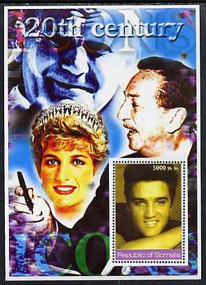 Somalia 2002 20th Century Icons #4 (Elvis) perf s/sheet (also shows Diana, Walt Disney & The Pope in background) unmounted mint