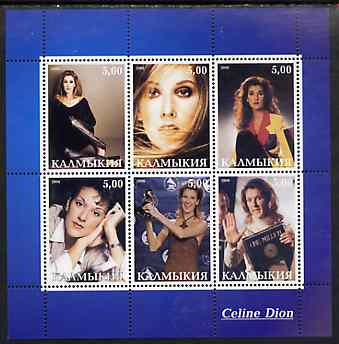 Kalmikia Republic 2000 Celine Dion perf sheetlet containing 6 values unmounted mint
