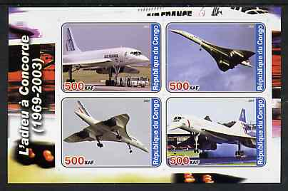 Congo 2003 Concorde #1 imperf sheetlet containing set of 4 values unmounted mint
