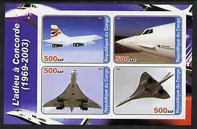Congo 2003 Concorde #2 imperf sheetlet containing set of 4 values unmounted mint