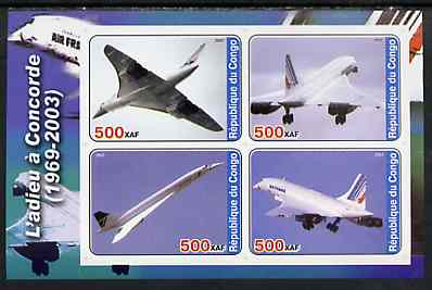 Congo 2003 Concorde #3 imperf sheetlet containing set of 4 values unmounted mint