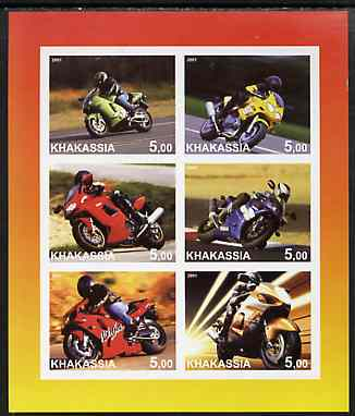 Chakasia 2001 Racing Motorcycles imperf sheetlet containing set of 6 values complete unmounted mint