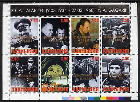 Kalmikia Republic 1999 Yuri Gagarin Commemoration perf sheetlet containing 8 values each overprinted for Astronauts Day unmounted mint