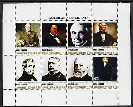 Kuril Islands 1999 ? America's Presidents #1 perf sheetlet containing 8 values unmounted mint
