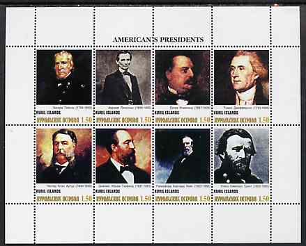 Kuril Islands 1999 ? America's Presidents #2 perf sheetlet containing 8 values unmounted mint