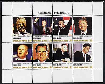 Kuril Islands 1999 ? America's Presidents #5 perf sheetlet containing 8 values unmounted mint