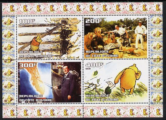 Ivory Coast 2003 Walt Disney & Winnie the Pooh #1 perf sheetlet containing 4 values unmounted mint