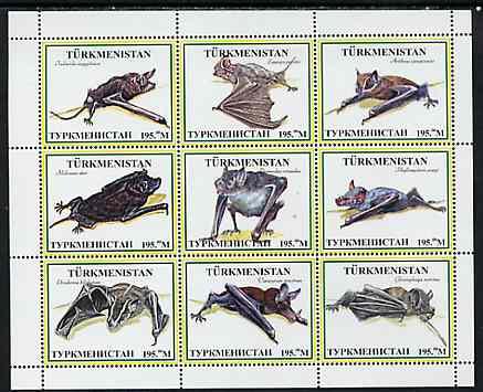 Turkmenistan 1999 ? Bats #1 perf sheetlet containing set of 9 values unmounted mint