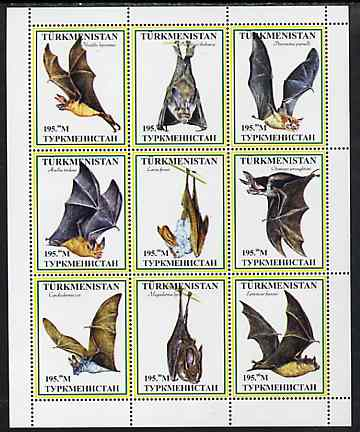 Turkmenistan 1999 ? Bats #2 perf sheetlet containing set of 9 values unmounted mint