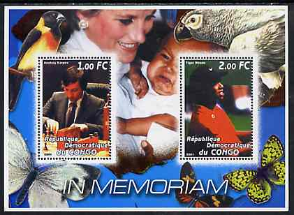 Congo 2001 In Memoriam #2 (Princess Di, Karpov & Tiger Woods) perf sheetlet containing 2 values unmounted mint