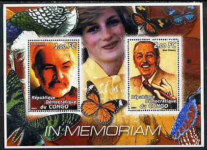 Congo 2001 In Memoriam #6 (Princess Di, Sean Connery & Walt Disney) perf sheetlet containing 2 values unmounted mint