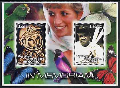Congo 2001 In Memoriam #7 (Princess Di, Yuri Gagarin & Babe Ruth) perf sheetlet containing 2 values unmounted mint