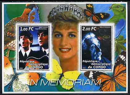 Congo 2001 In Memoriam #9 (Princess Di, Lennon & McCartney & Albert Einstein) perf sheetlet containing 2 values unmounted mint