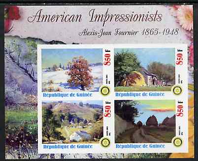 Guinea - Conakry 2003 American Impressionists - Alexis Jean Fournier imperf sheetlet containing set of 4 values each with Rotary Logo unmounted mint