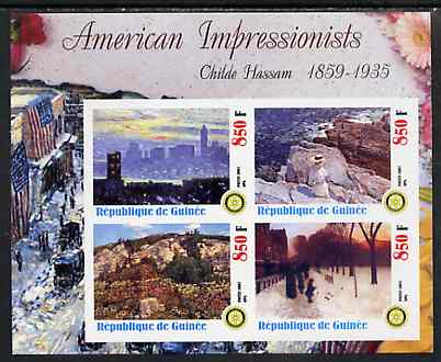 Guinea - Conakry 2003 American Impressionists - Childe Hassam imperf sheetlet containing set of 4 values each with Rotary Logo unmounted mint