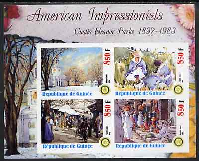 Guinea - Conakry 2003 American Impressionists - Custis Eleanor Parke imperf sheetlet containing set of 4 values each with Rotary Logo unmounted mint