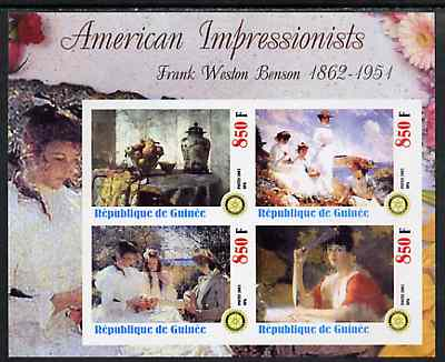 Guinea - Conakry 2003 American Impressionists - Frank Weston Benson imperf sheetlet containing set of 4 values each with Rotary Logo unmounted mint