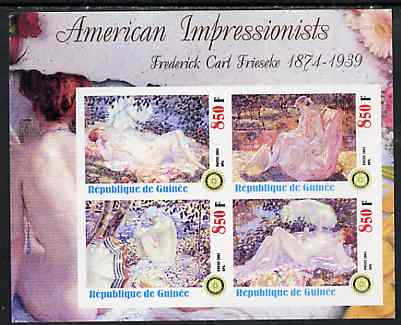 Guinea - Conakry 2003 American Impressionists - Frederick Carl Frieseke imperf sheetlet containing set of 4 values each with Rotary Logo unmounted mint
