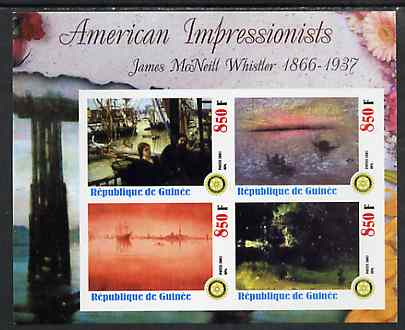 Guinea - Conakry 2003 American Impressionists - James McNeill Whistler imperf sheetlet containing set of 4 values each with Rotary Logo unmounted mint, stamps on arts, stamps on rotary
