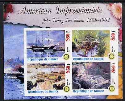 Guinea - Conakry 2003 American Impressionists - John Henry Twachtman imperf sheetlet containing set of 4 values each with Rotary Logo unmounted mint, stamps on arts, stamps on rotary