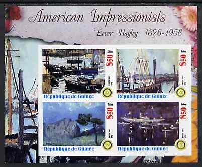Guinea - Conakry 2003 American Impressionists - Lever Hayley imperf sheetlet containing set of 4 values each with Rotary Logo unmounted mint