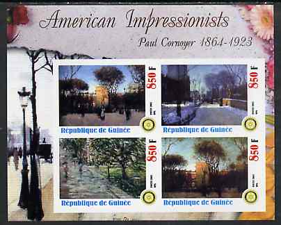 Guinea - Conakry 2003 American Impressionists - Paul Cornoyer imperf sheetlet containing set of 4 values each with Rotary Logo unmounted mint