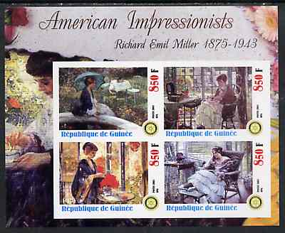 Guinea - Conakry 2003 American Impressionists - Richard Emil Miller imperf sheetlet containing set of 4 values each with Rotary Logo unmounted mint