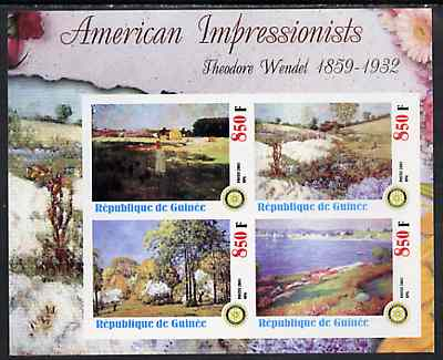 Guinea - Conakry 2003 American Impressionists - Theodore Wendel imperf sheetlet containing set of 4 values each with Rotary Logo unmounted mint