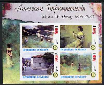 Guinea - Conakry 2003 American Impressionists - Thomas W Dewing imperf sheetlet containing set of 4 values each with Rotary Logo unmounted mint