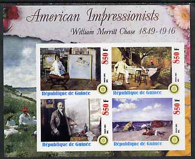 Guinea - Conakry 2003 American Impressionists - William Merritt Chase imperf sheetlet containing set of 4 values each with Rotary Logo unmounted mint