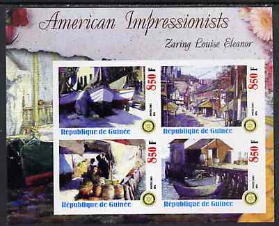 Guinea - Conakry 2003 American Impressionists - Zaring Louise Eleanor imperf sheetlet containing set of 4 values each with Rotary Logo unmounted mint