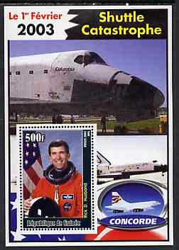 Guinea - Conakry 2003 Shuttle Catastrophe #2 perf m/sheet (Rick D Husband & Concorde) unmounted mint